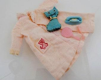 Dreamtime Skipper Outfit Set Sleep Over Bedroom Set Pajamas Pink Blue Plush Cat Phone Vintage Mod Barbie Doll Mattel Clothes Accessories