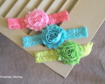 Newborn Headband Starter Set, Lace Headband, Shabby Headband, RTS, Photo Prop Set, Baby Girl Headband, Pink Turquoise Lime Green, Set of 3