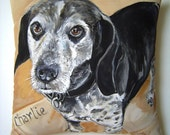 Custom Dog Portrait Memorial Hand Painted Pillow 14x14