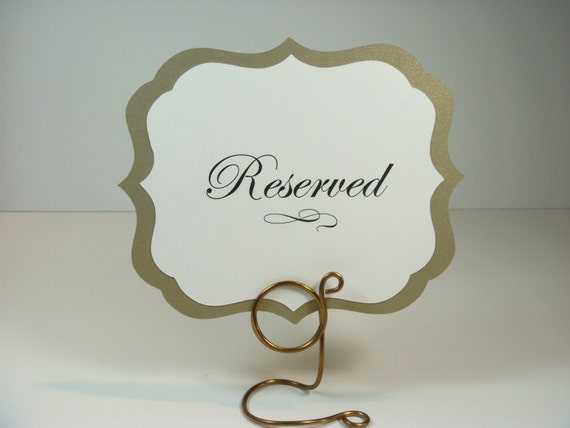 Wedding Reserved Table Sign Elegant Vintage Label Design Reserves a Seat or an Entire Table for your Special Guests