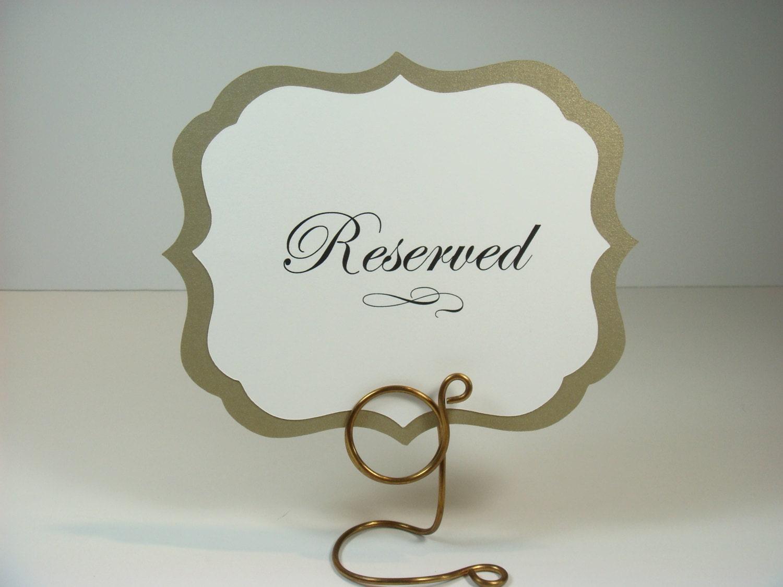 Wedding reserved table sign elegant vintage label design for Table sign design