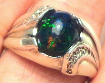 Sz 8 1/2, Black Welo Opal, Natural Gemstone, Man's Ring,Heavy Sterling Silver,Gothic Jewellry,Edwardian Gem Ring,Mystical Stone Ring
