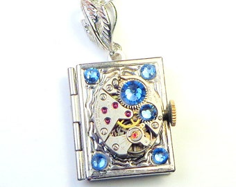 Steampunk  Locket Necklace,Vintage Watch,Ruby Jeweled, Watch Movement, Blue Swarovski Crystals,Book Locket,Edwardian Fantasy,Gothic Jewellry