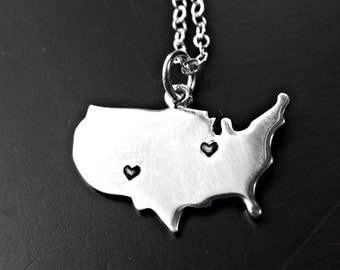 Custom USA Sterling Silver Necklace - United States Necklace -  Personalized USA Necklace Sterling - Long Distance Jewelry