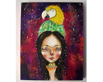 folk art Original Frida girl painting whimsical mixed media art painting on wood canvas 8x10 inches - Young Frida and her parrot