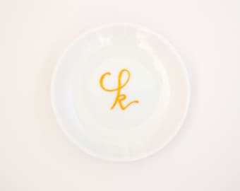 Personalized Lower Case Calligraphy Initial - Ring Dish and Drink Coaster
