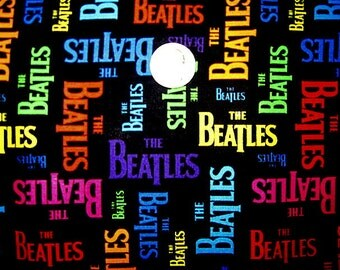 1/2 Yard, BEATLES, Cotton Fabric, Color Words On Black, Rainbow Words, beatles fabric, beatles remnant, beatles cotton fabric, beatles scrap