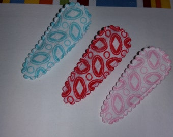 Back To School Set Of 3 Covered Alligator Clips / Padded Clips / Ready To Ship