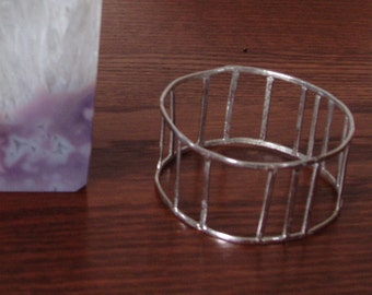 Vintage Silver Tone Wide Cuff Bracelet from the Wood Stock era