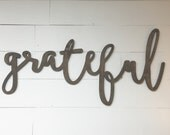 Large Stained Grateful Word Wood Cut Wall Art Sign Decor