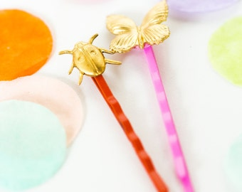 Ladybug and Butterfly Bobby Pin set of two, Bobby pin set