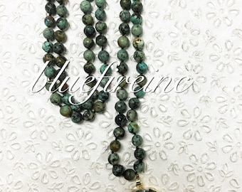 African Turquoise Jasper Long Beaded Necklace, Hand Knotted Necklace