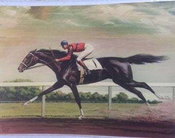 "Race HORSE art print Sam SAVITT artist, 12"" x 15 3/4""  vintage jockey on horseback, horse race equestrian black horse dark race horse art pr"