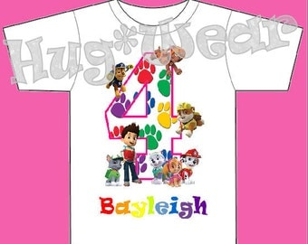 Custom Paw Patrol Theme Birthday Tee Shirt + Tutu Outfit Any age or color combo!