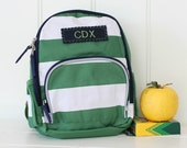 Personalized Toddler (Mini Size) Backpack Pottery Barn -- Green/White Rugby Stripe