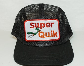 All Mesh New Strapback w/ Vintage Patch Super Quik Gas Station Trucker Hat