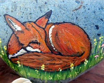 RED FOX Hand Painted Rocks Animal Totem Stone Altar Tools Wolf Medicine Rock Art Forest Spirit Animals Sleeping Fox Lotus and Nightshade
