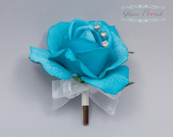 Turquoise Blue Rose Pin On Corsage. Real Touch Flowers. Caroline Rose Collection