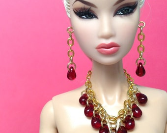 Barbie doll jewelry set gold with dark red teardrop beads - Made to Order