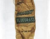Large Kentucky Bluegrass Seed Burlap Bag - Gunny Sack