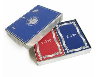 "Mid Century Double Deck Playing Cards with Initials ""CJW"""