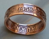Iceland 5 Aurar Coin Ring  (Available in sizes 5 through 9)