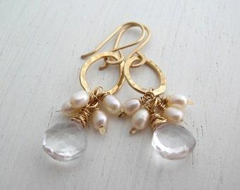 Crystal Quartz and Pearl Hanging Hoop