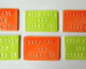 Mosaic Tiles-Keep Calm and Carry on-Word tiles- ceramic mosaic tiles - Handmade