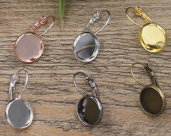 50 Brass Silver/ Bronze/ Gun-Metal/ White Gold/ Rose Gold Lever-Back Ear Wire W/ 10mm/ 12mm/ 14mm/ 16mm/ 18mm/ 20mm Round Bezel- Z5604