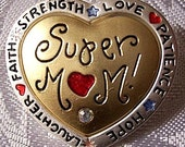 Mothers Day Super Mom Heart Pin Brooch Gold Tone Vintage Satin White Edge Band Red Hearts Clear Stones Blue Stars