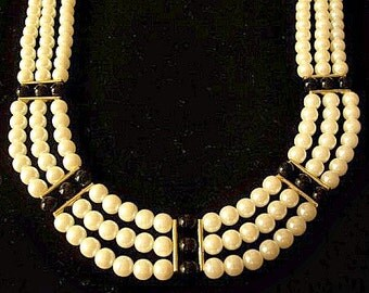 Pearl Onyx Bead Triple Strand Necklace Choker Gold Tone Vintage Straight Accent Bars Round White Black Beads Hook Clasp