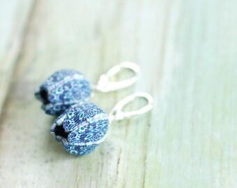 Dark blue flower earrings, Tulip earrings, dangle floral earrings, flower buds earrings, Silver leverback earrings, summer earrings