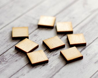Square wood findings, earring findings, Geometric findings for studs, Jewelry blanks, scrapbooking supplies, lasercut, square confetti