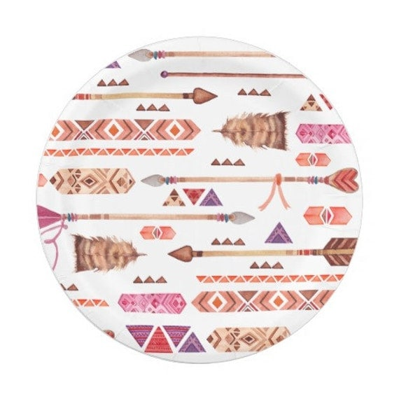 8 BOHEMIAN ARROW TRIBAL Paper Plates / Wild One Birthday Party Boho Southwest Aztec Indian Ikat Modern Whimsical Teepee Gl&ing Baby Shower  sc 1 st  Catch My Party & 8 BOHEMIAN ARROW TRIBAL Paper Plates / Wild One Birthday Party Boho ...