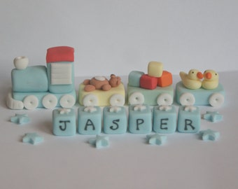 Handmade Train Christening Cake Topper/Decoration