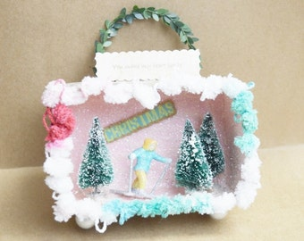 Paper Box Christmas Decor Ornament Skier You Make My Heart Smile
