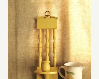 Happy 4th with 40% Off Retro Candle Sconce in Honey Mustard /  Yellow Wood Wall Sconce