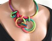 Statement Asymmetrical Necklace Rainbow