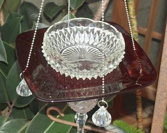 Glass Ruby Depression Federal Petal Vintage Cut Elegant Hanging Repurposed Bird Feeder