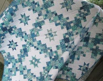 Queen Bed Quilt, Seascapes, Nautical Quilt, Marine Life, Irish Chain Quilt, Navy Blue Aqua Teal Quilt, 81 x81