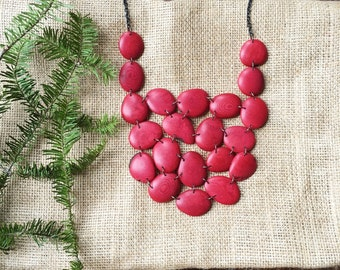 Tagua Nut Jewelry. Red Necklace. Necklace READY TO SHIP. Red Statement Necklace. Fast shipping. Fair trade. Sela Designs. Light weight