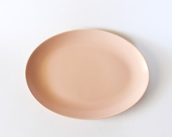 Vintage 1950s Peach/Pink Ceramic Franciscan Ware Oval Serving Tray/Platter