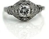 Vintage Engagement Ring Edwardian .78ctw Old European Cut Vintage EngagementRing Art Deco Platinum 1920s Antique Ring Size 6!