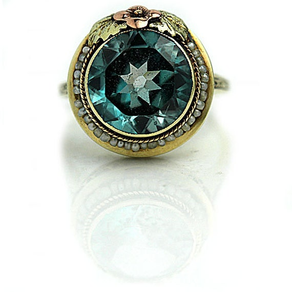 antique blue zircon ring unique engagement ring by