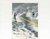 SALE 25% OFF Water Ski Decor, Black and White Geometric Art Print - Competitive Strategy