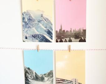 Art Postcard Set, Mountain Postcards, City Postcards, Affordable Art, Modern Stationery, Gift Ideas - Coloured Skies