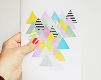 A5 Notebook, Geometric Mountain Journal, 100% Recycled - French Alps