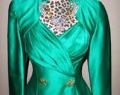 On Hold ~  Vtg TADASHI 2-PIece Green Satin Skirt Suit Sz 2 SMALL