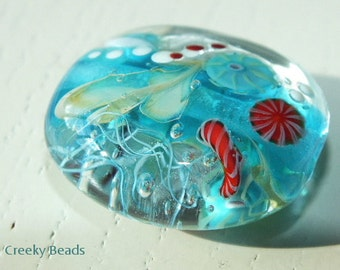 Handmade Lampwork Focal bead 'Turquoise & Red Jelly fish!' Creeky Beads SRA