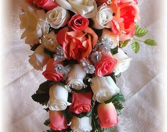 Coral Peach Wedding Bouquet Cascade 2pc Cream Ivory Silver Silk Flowers Boutonniere Roses